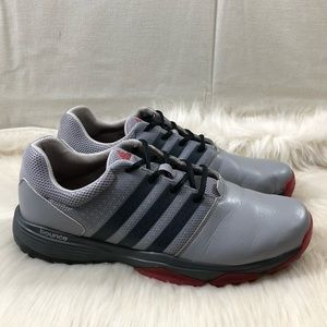 Adidas Bounce Grey Red Black Leather Sneakers